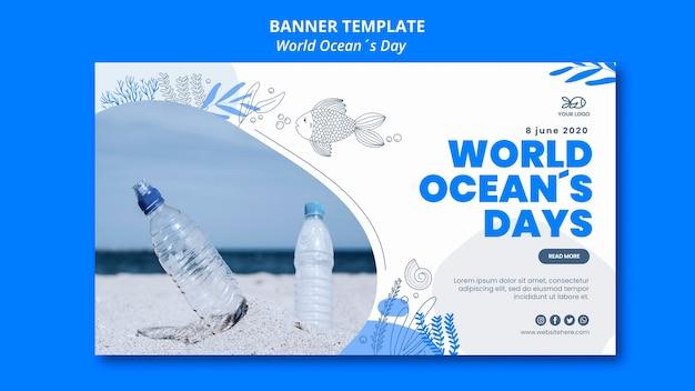 Plantilla de banner del día mundial del océano