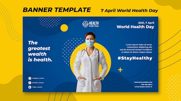 Plantilla de banner del día mundial de la salud