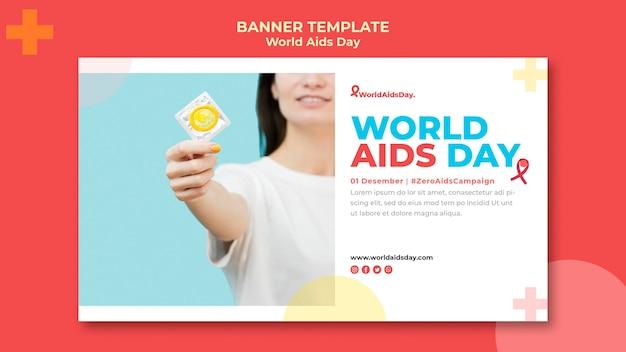 Plantilla de banner del día mundial del sida