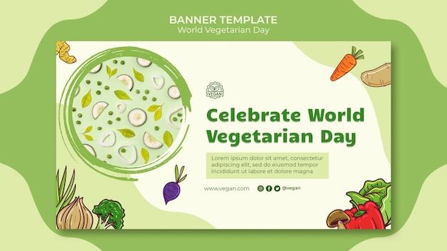 Plantilla de banner del día mundial del vegetariano