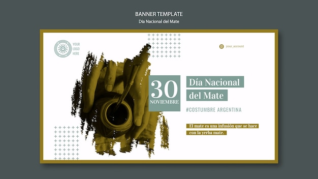 Plantilla de banner del día nacional de la bebida mate