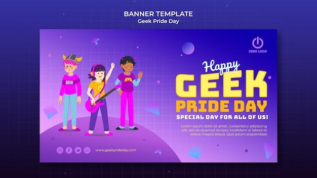 Plantilla de banner de día del orgullo geek con gente cantando