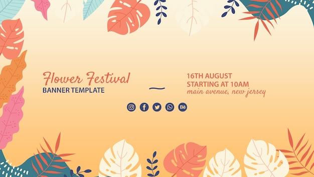 Plantilla de banner dibujado de festival de flores