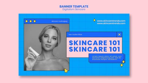 Plantilla de banner de digitalismo para el cuidado de la piel