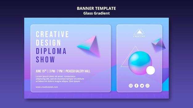 Plantilla de banner de diploma de diseño creativo