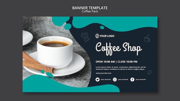 Plantilla de banner con diseño de café