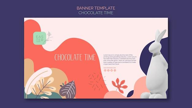 Plantilla de banner con diseño de chocolate