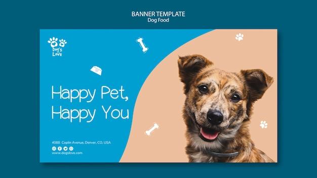 Plantilla de banner con diseño de comida para perros