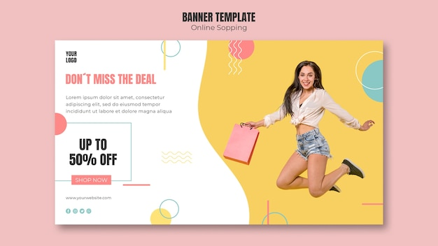 Plantilla de banner con diseño de compras en línea