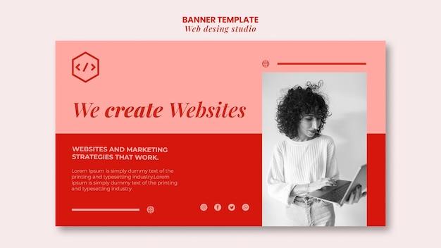 Plantilla de banner de diseño de estudio web