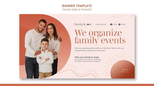 Plantilla de banner de diseño familiar