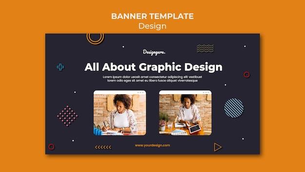 Plantilla de banner de diseño gráfico con foto