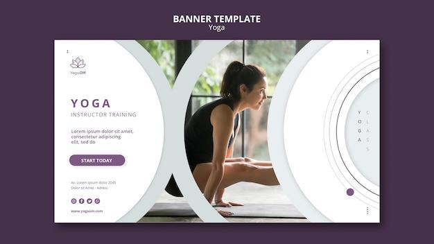 Plantilla de banner con diseño de yoga