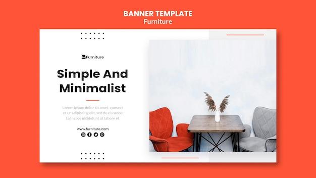 Plantilla de banner para diseños de muebles minimalistas.