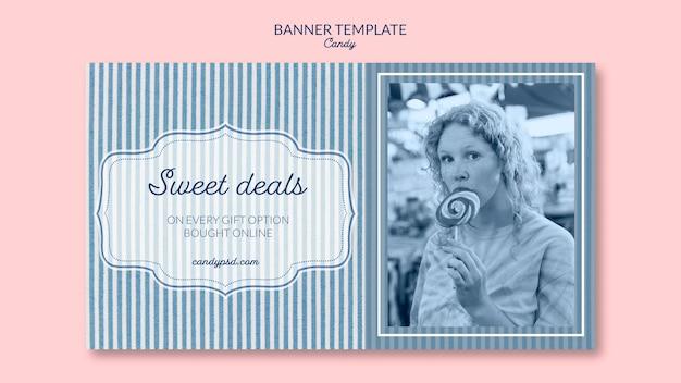Plantilla de banner de dulces ofertas de tienda de dulces
