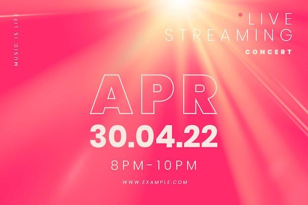 Plantilla de banner editable psd con efecto de luz para concierto de transmisión en vivo en la nueva normalidad