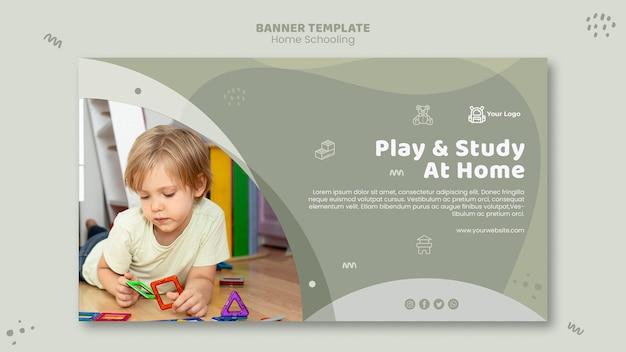 Plantilla de banner de educación en el hogar