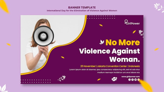 Plantilla de banner para la eliminación de la violencia contra la mujer