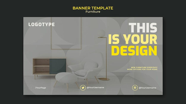Plantilla de banner para empresa de diseño de interiores