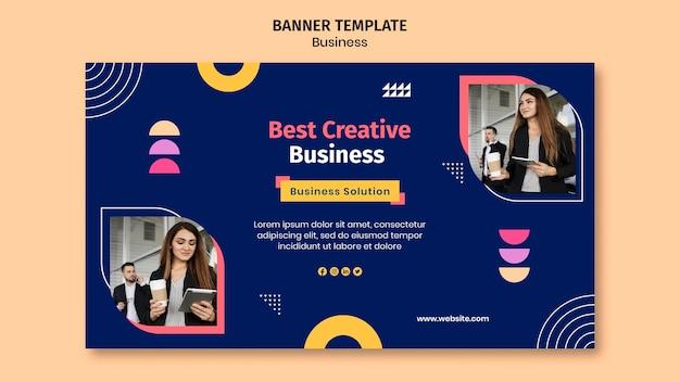 Plantilla de banner empresarial con formas coloridas