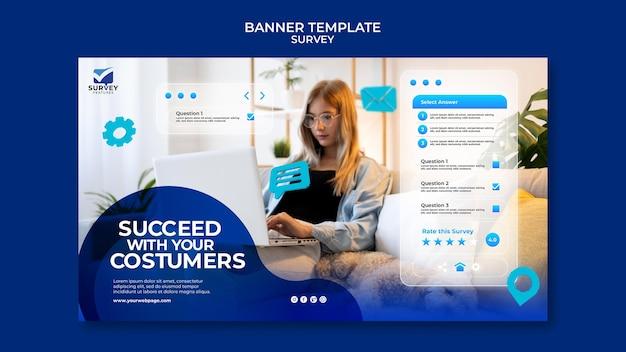 Plantilla de banner de encuesta azul creativo