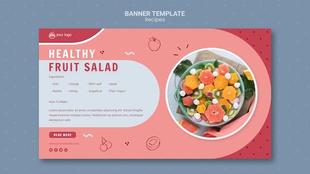 Plantilla de banner de ensalada de frutas saludables