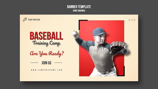 Plantilla de banner de entrenamiento de béisbol