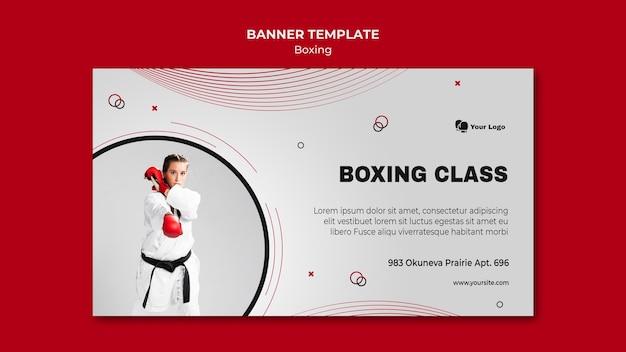 Plantilla de banner para entrenamiento de boxeo.