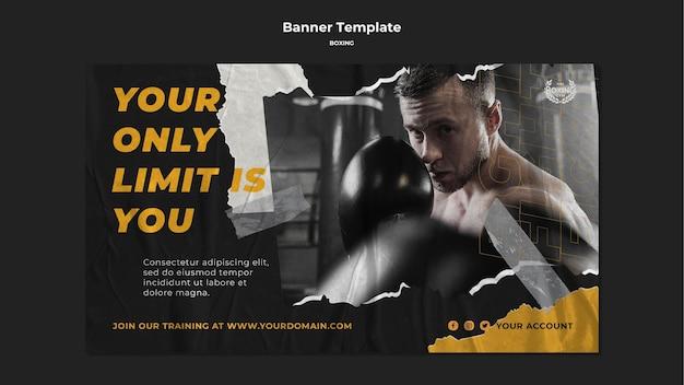 Plantilla de banner de entrenamiento de boxeo