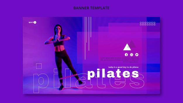 Plantilla de banner de entrenamiento de pilates