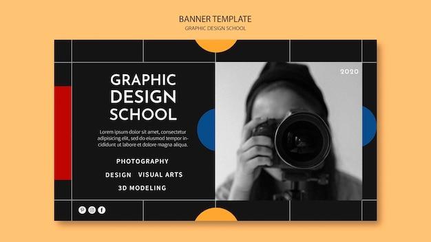 Plantilla de banner de escuela de diseño gráfico