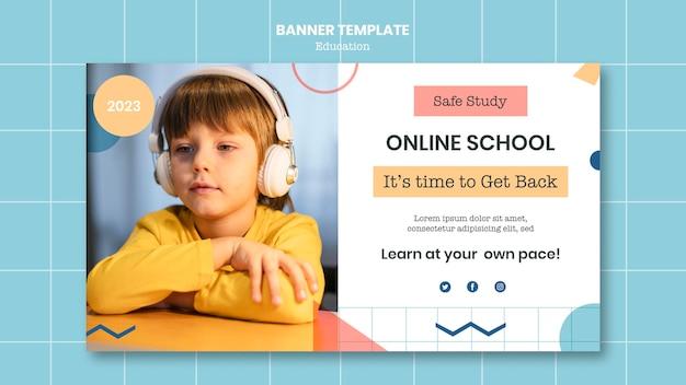 Plantilla de banner de escuela en línea
