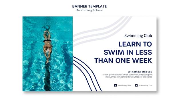Plantilla de banner de escuela de natación