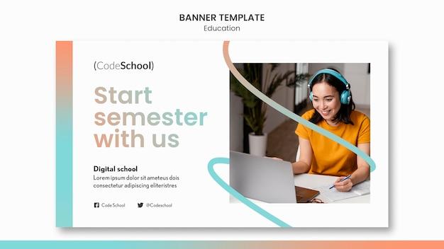 Plantilla de banner para escuela de programación en línea.