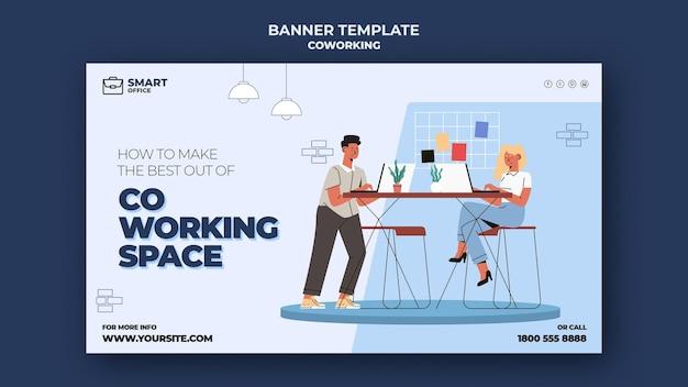 Plantilla de banner de espacio de coworking