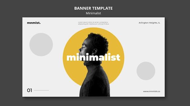 Plantilla de banner en estilo minimalista para galería de arte con hombre.