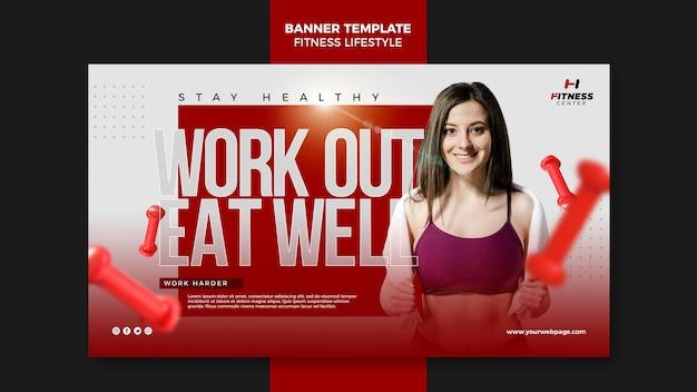 Plantilla de banner de estilo de vida fitness