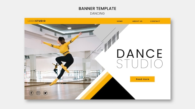 Plantilla de banner con estudio de baile