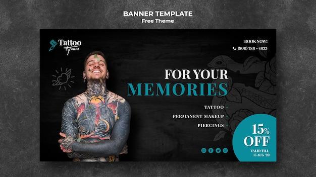 Plantilla de banner de estudio de tatuaje profesional