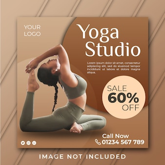 Plantilla de banner de estudio de yoga