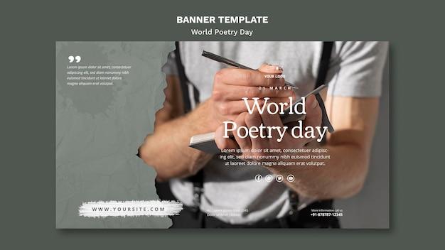 Plantilla de banner de evento del día mundial de la poesía con foto