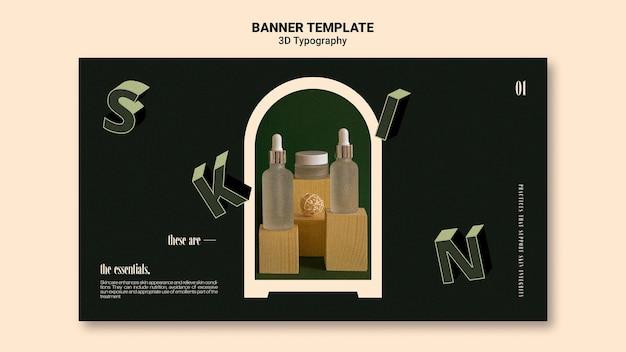 Plantilla de banner para exhibición de botellas de aceite esencial con letras tridimensionales