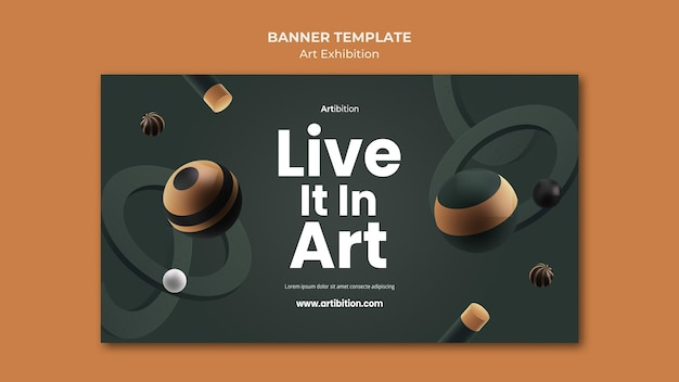 Plantilla de banner para exposición de arte con formas geométricas.