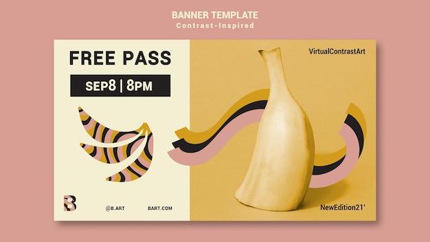 Plantilla de banner de exposición de arte inspirada en el contraste