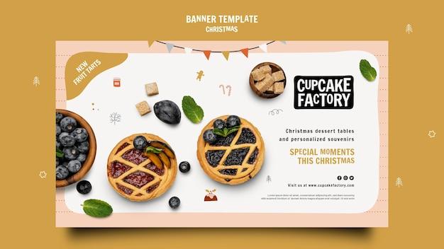 Plantilla de banner de fábrica de cupcakes navideños
