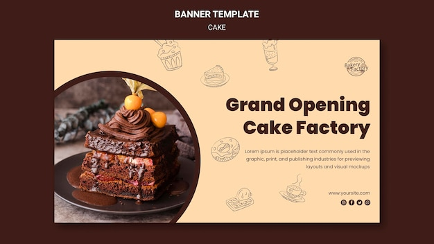 Plantilla de banner de fábrica de pasteles de gran inauguración