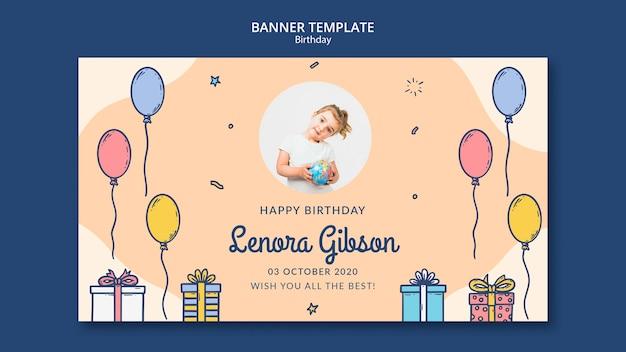 Plantilla de banner de feliz cumpleaños con foto