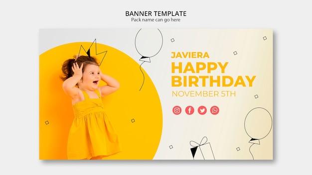 Plantilla de banner con feliz cumpleaños