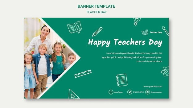 Plantilla de banner de feliz día del maestro y niños
