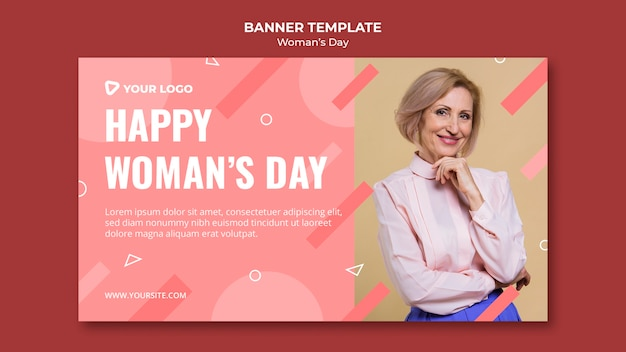 Plantilla de banner de feliz día de la mujer con mujer posando en elegante atuendo